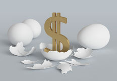 Dollar chicken from egg Royalty Free Stock Image