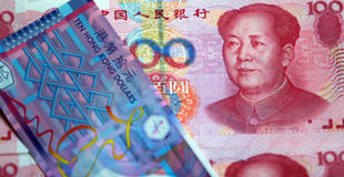 Dollar China-RMB und Hongs Kong Stockfoto