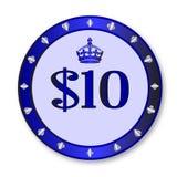 10 Dollar-Chip Lizenzfreie Stockbilder