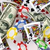 Dollar, Chips und Karten Lizenzfreie Stockbilder