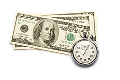 Dollar and clock Royalty Free Stock Photo