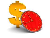Dollar and clock Stock Images