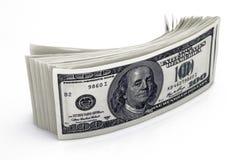 Dollar Closeupbegrepp Amerikanska dollar kassapengar sedeldollar hundra en Royaltyfria Bilder