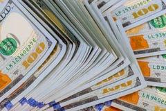 Dollar Closeupbegrepp Amerikanska dollar kassapengar sedeldollar hundra en Royaltyfri Fotografi