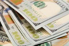 Dollar Closeupbegrepp Amerikanska dollar kassapengar sedeldollar hundra en - Bild arkivbilder