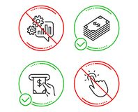 Dollar, Cogwheel and Atm service icons set. Touchpoint sign. Usd currency, Engineering tool, Cash investment. Vector. Do or Stop. Dollar, Cogwheel and Atm royalty free illustration