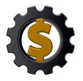 Dollar cogwheel Royalty Free Stock Photography