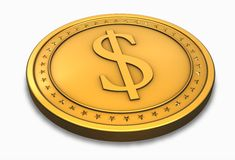 Dollar coin. Money background with golden $ coin stock illustration