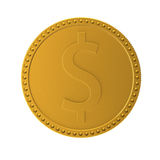 Dollar coin. Coin with sign of dollar. 3d render XL Stock Images