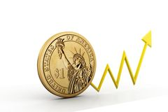 Dollar coin and arrow Stock Photos