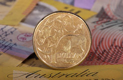 Dollar coin on bank notes. One Australian dollar coin with a background of Australian bank notes Royalty Free Stock Photo
