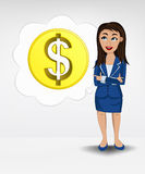 Dollar coin in bubble idea concept of woman in suit  Royalty Free Stock Photo