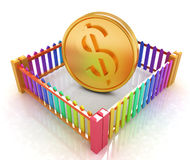 Dollar coin in closed colorfull fence concept illustration Stock Photos