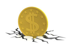 Dollar  Coin on Cracked Ground Stock Photos