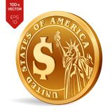 Dollar coin. 3D isometric Physical golden coin with Dollar symbol and with the image of the Statue of Liberty isolated on white ba. Ckground. American money Royalty Free Stock Photos