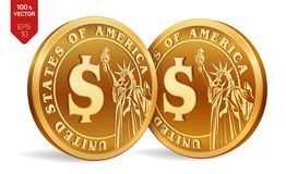 Dollar coin. 3D isometric Physical golden coins with Dollar symbol and with the image of the Statue of Liberty isolated on white. Background. American money Stock Photo