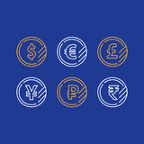 Dollar coin, euro sign, pound line icon, yen currency, ruble symbol. Currency exchange, dollar sign, euro pound yen ruble coins, business and finance investment Royalty Free Stock Photos