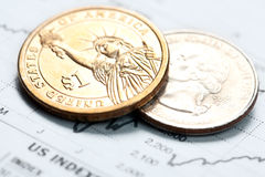 Dollar coin and financial graph Royalty Free Stock Photography