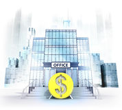 Dollar coin in front of office building as business city concept Royalty Free Stock Photo