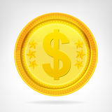 Dollar coin golden currency object isolated Royalty Free Stock Photo