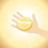 Dollar Coin in Hand Stock Image