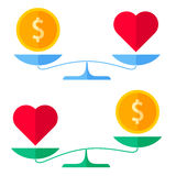 Dollar coin and a heart on a scales. Healthcare concept. Royalty Free Stock Photo