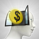Dollar coin investment coming out or in human head through window concept Royalty Free Stock Photo