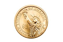 Dollar coin isolated. On white, US$1 macro
