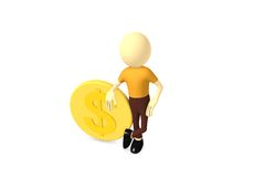 Dollar coin with man Royalty Free Stock Photo
