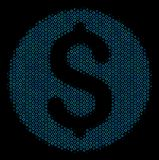 Dollar Coin Mosaic Icon of Halftone Circles. Halftone Dollar coin mosaic icon of empty circles in blue color tones on a black background. Vector empty circles Stock Image