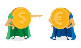 Dollar coin pointing at euro super hero Stock Images