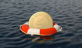Money saving and financial wealth protection concept. Dollar coin in a red lifebuoy on the sea Royalty Free Stock Images