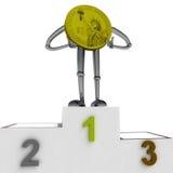 Dollar coin robot as winner standing on podium best place illustration. Dollar coin robot as winner standing on podium best place rendering illustration Stock Image