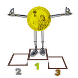 Dollar coin robot as winner standing on podium ceremony illustration Stock Images