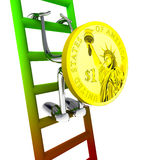 Dollar coin robot climbs to the top of the ladder illustration Stock Photos