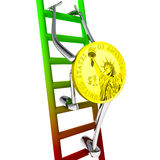 Dollar coin robot climbs up the ladder illustration Stock Photos