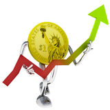 Dollar coin robot help to investment illustration Stock Photography