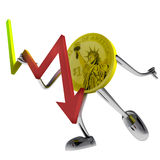 Dollar coin robot hold stock shares illustration Royalty Free Stock Photo