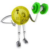 Dollar Coin Robot Holding At Gym Illustration Royalty Free Stock Photography