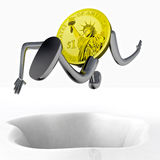 Dollar coin robot jumping above hole illustration Stock Photos