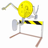 Dollar coin robot jumping above hurdle illustration Stock Photo