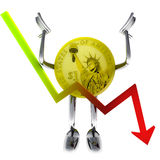 Dollar coin robot and stock dencending graph illustration Royalty Free Stock Images