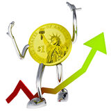 Dollar coin robot show better investment chace illustration Royalty Free Stock Image