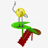 Dollar coin robot standing at the top of red green staircase illustration Royalty Free Stock Photos