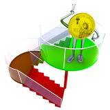 Dollar coin robot standing at the top of stairs illustration Royalty Free Stock Photos
