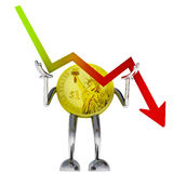 Dollar coin robot stop descending stock graph illustration. Rendering Stock Images