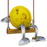 Dollar coin robot swinging on a swing left side view illustration Royalty Free Stock Photo