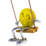 Dollar coin robot swinging on a swing illustration Royalty Free Stock Images