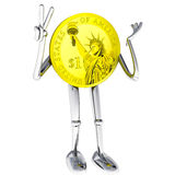 Dollar coin robot victor showing joy illustration Stock Photo
