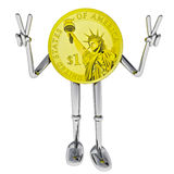 Dollar coin robot victor showing victory illustration Royalty Free Stock Photos